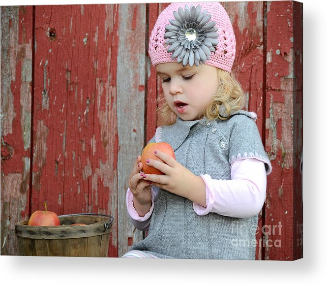 Girl Acrylic Print featuring the photograph Apple Admirer by Maria Dryfhout
