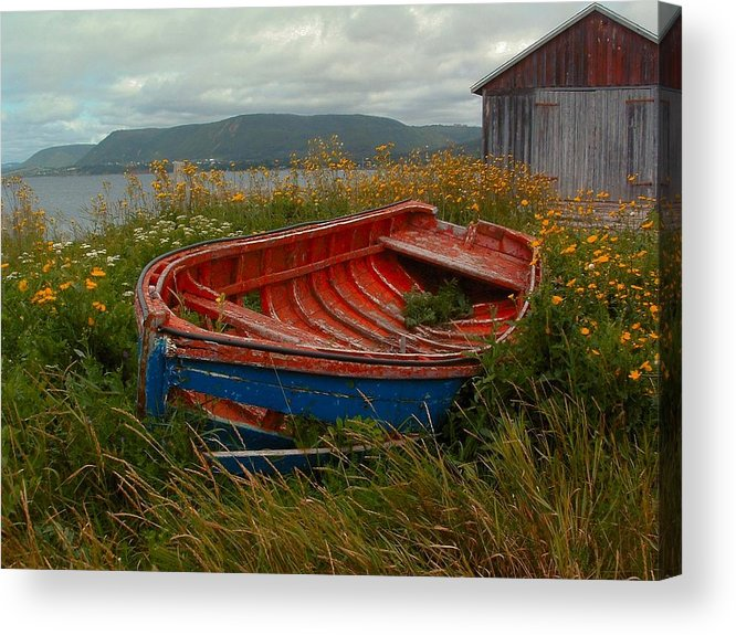 Gaspe Province Of Quebec Fishing Boat Shore Scene Wildflowers Melancholy Muted Tones Overcast Decaying Boat Frame Acrylic Print featuring the photograph Boats Shore In Time by William OBrien