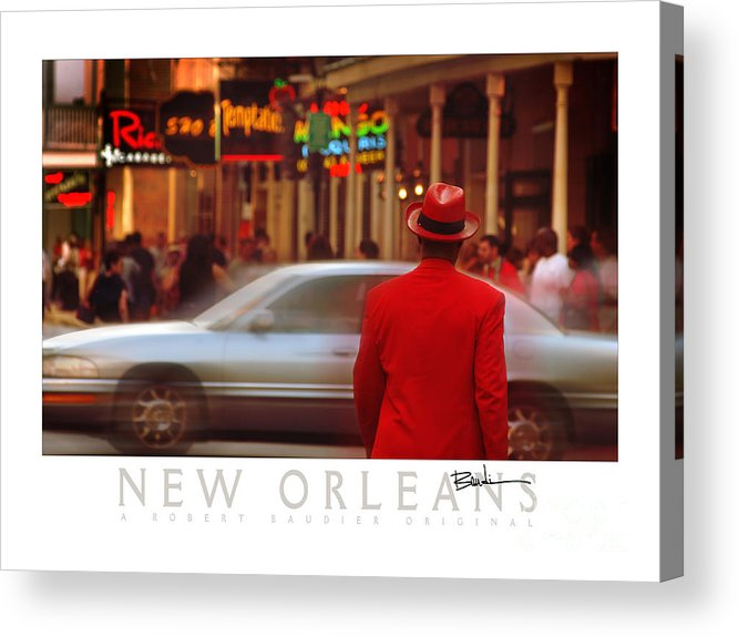 New Orleans Acrylic Print featuring the photograph Bourbon Street Man In Red Suit by Robert Baudier