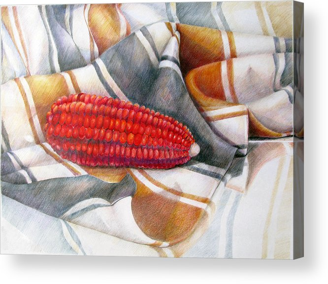 Copper Acrylic Print featuring the drawing Choclo Solitario by Sonia Tudela