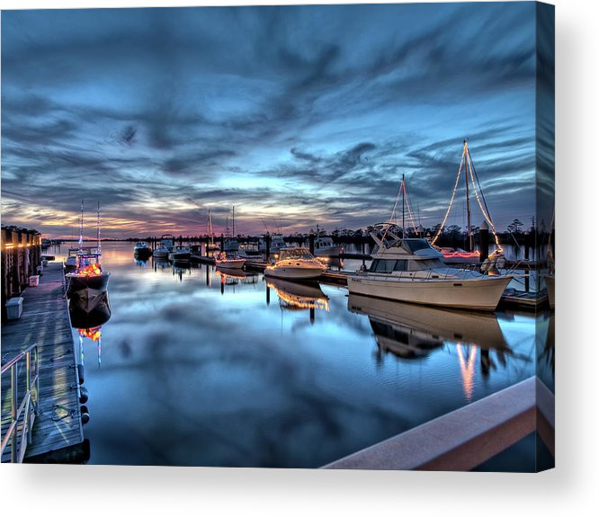 Christmas Acrylic Print featuring the photograph Christmas At The Marina by Mike Covington