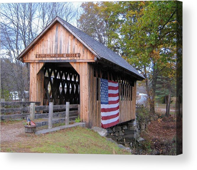 Nh Acrylic Print featuring the photograph Cilleyville Covered Bridge by Wayne Toutaint