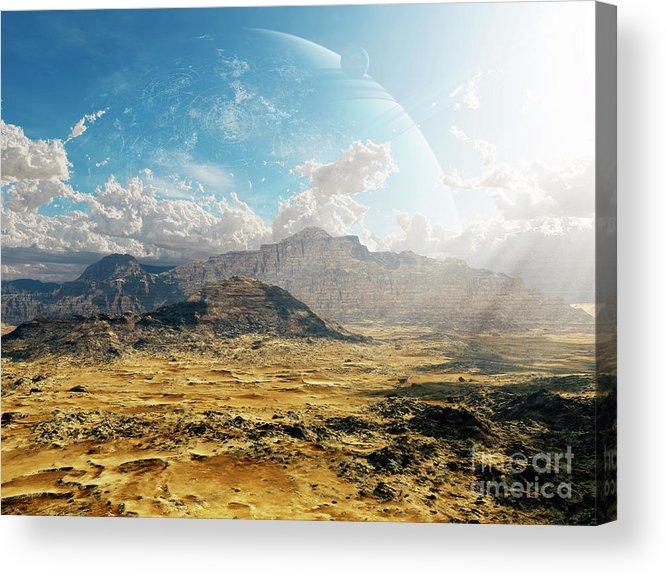 Artwork Acrylic Print featuring the digital art Clouds Break Over A Desert On Matsya by Brian Christensen