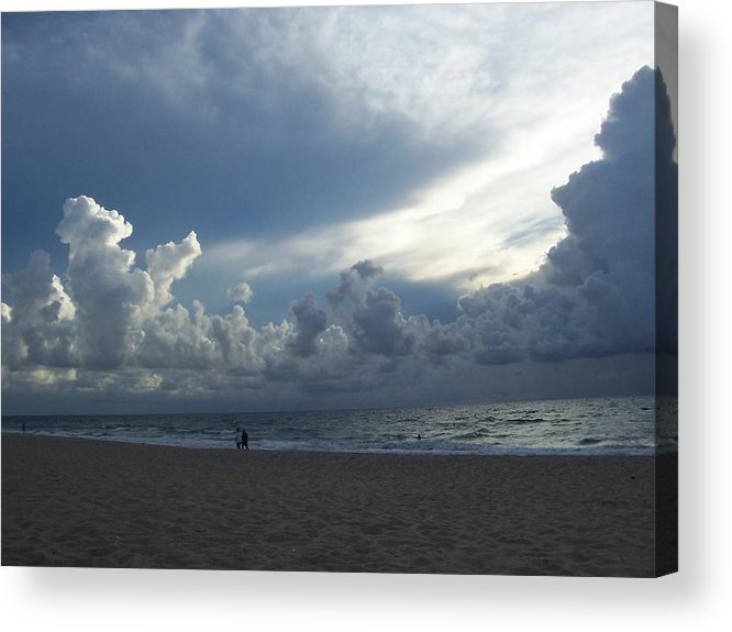 Seascape Acrylic Print featuring the photograph Clouds On The Horizon by Sheila Silverstein