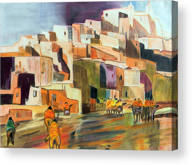 Adobe City Horses Native American Tribe Indian Colored Pencil Mexico Latin America Southwest Pueblo Acrylic Print featuring the drawing Colored Pencil Rendition Of A B.c. Nowlin Oil Painting by The Nothing Machine Ink