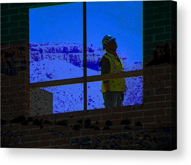 Abstract Acrylic Print featuring the photograph Construction Worker by Lenore Senior