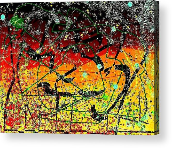 Digital Free Style Acrylic Print featuring the mixed media Crows by YoMamaBird Rhonda