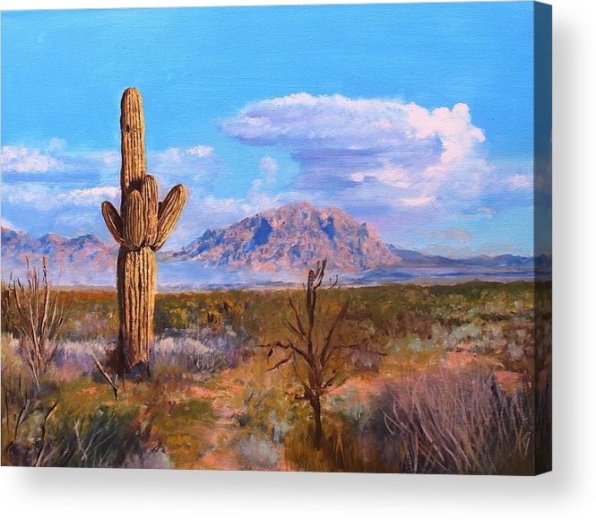 Desert Acrylic Print featuring the painting Desert Scene 4 by M Diane Bonaparte
