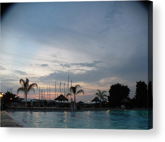 Digital Acrylic Print featuring the photograph Evening At The Pool by Kimmary MacLean