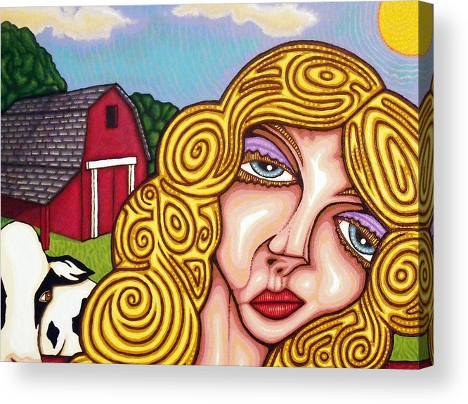 Cow Acrylic Print featuring the painting Farm Girl by Jason Hawn