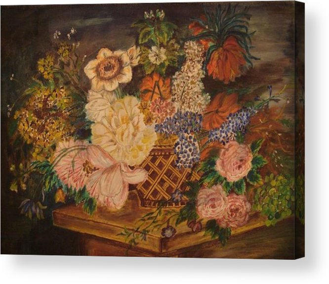 Flowers Acrylic Print featuring the painting Flower Basket by Preeti