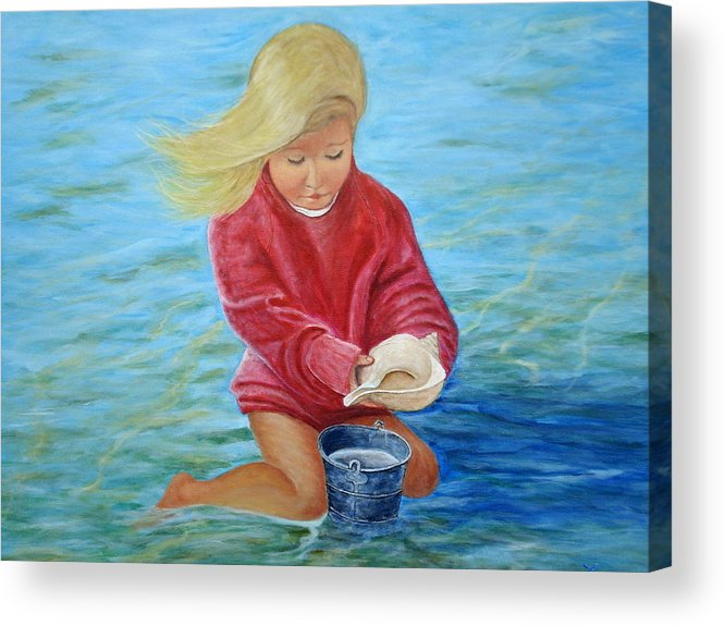 Girl Acrylic Print featuring the painting Girl At Beach #2 by Chris Law