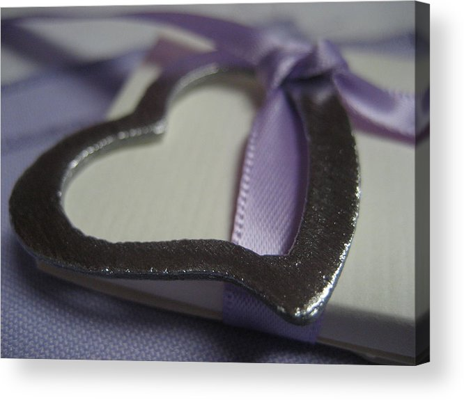 Heart Acrylic Print featuring the photograph Heart With Purple Ribbon by Carrie Munoz