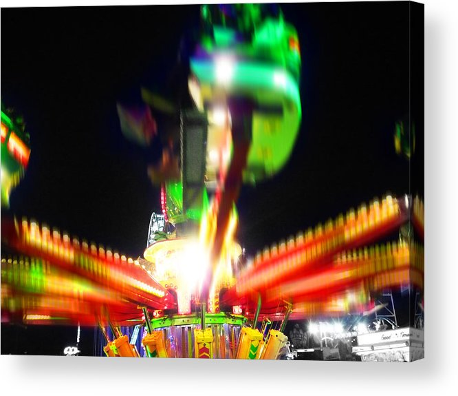 Fairground Ride At Night Acrylic Print featuring the digital art Hoppity Hop Hop Hop by Charles Stuart
