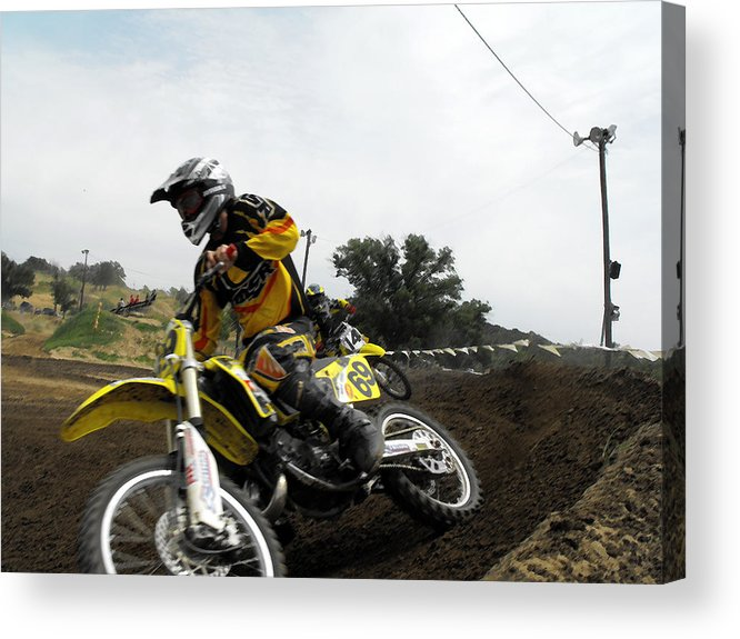 Dirtbike Acrylic Print featuring the photograph In The Chase by Darrell Moseley