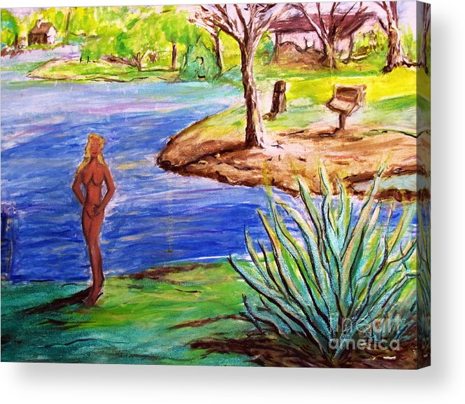 Lady By Lake Acrylic Print featuring the painting Lady By The Lake by Stanley Morganstein