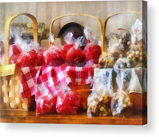 Candy Acrylic Print featuring the photograph Licorice And Chocolate Covered Peanuts by Susan Savad