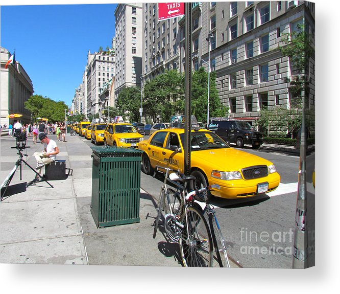 Taxis Acrylic Print featuring the photograph Lined Up For Business by Randi Shenkman