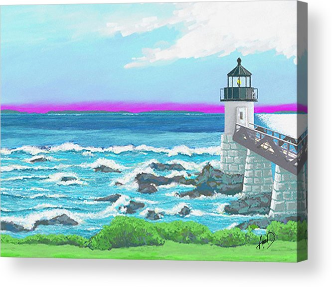 Seascape Acrylic Print featuring the painting Marshal Point Light by Douglas Auld