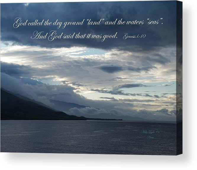 Ocean Acrylic Print featuring the photograph Maui Scripture I by Mike Lytle