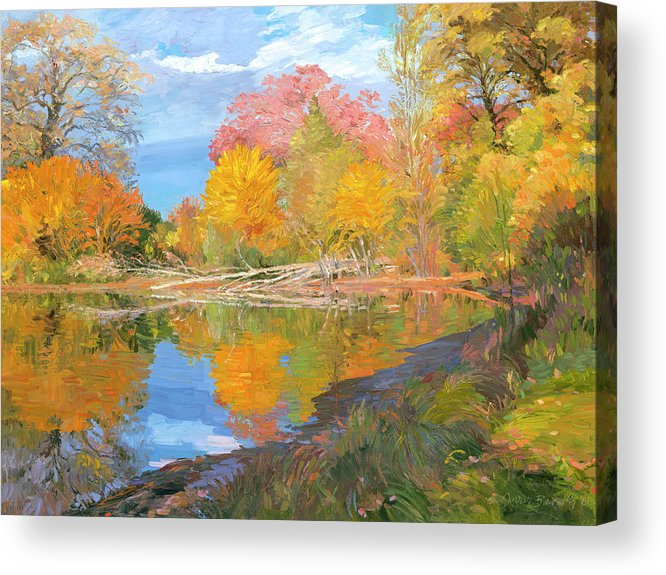 Fall Trees Acrylic Print featuring the painting Mayslake At Fall by Judith Barath