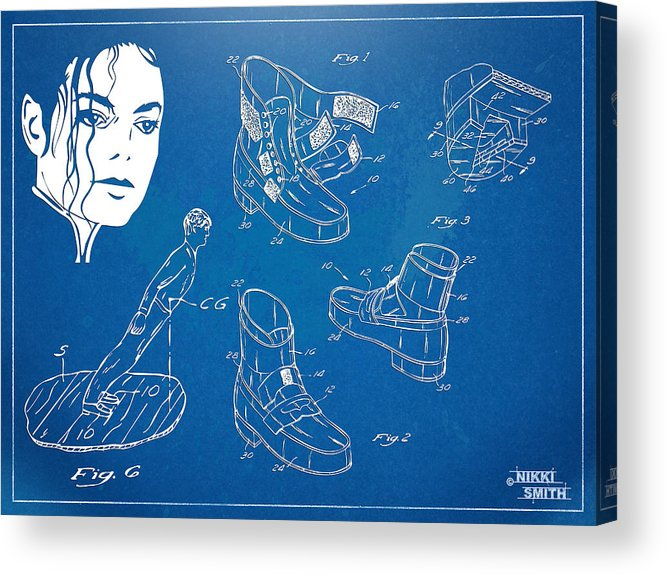 Michael Jackson Acrylic Print featuring the digital art Michael Jackson Anti-gravity Shoe Patent Artwork by Nikki Marie Smith