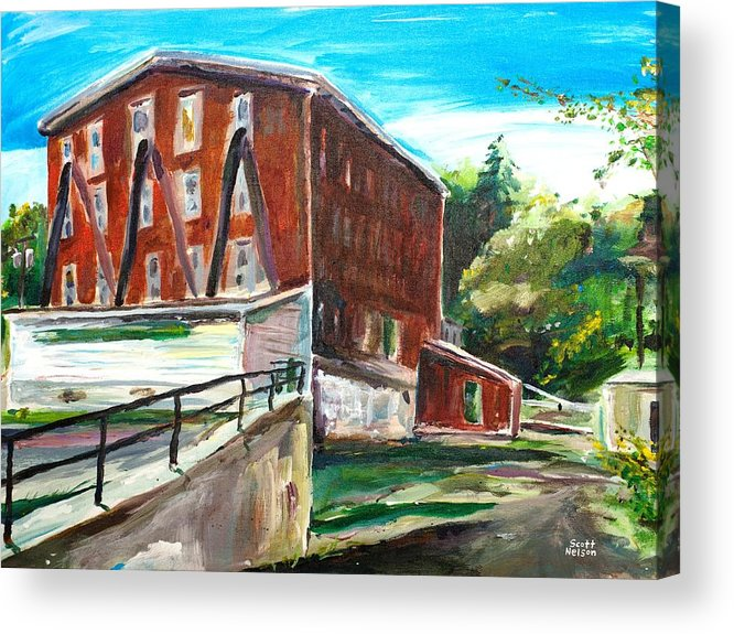 Mill Acrylic Print featuring the painting Millbury Mill by Scott Nelson