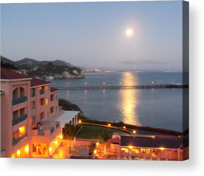 Lights Acrylic Print featuring the photograph Moon Lights On The Water by Jan Moore