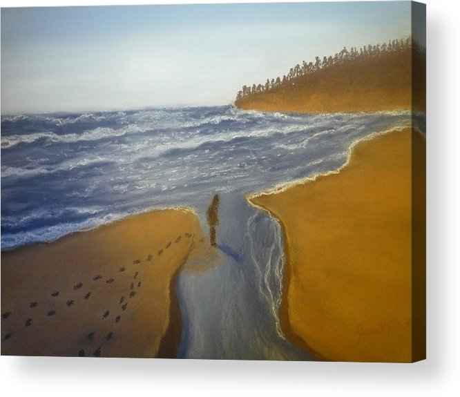 Landscapes Acrylic Print featuring the pastel Natalie At 3rd Beach by Janet Matwiejow