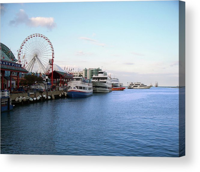 Cities Acrylic Print featuring the photograph Navy Pier Chicago Summer Evening by Thomas Woolworth