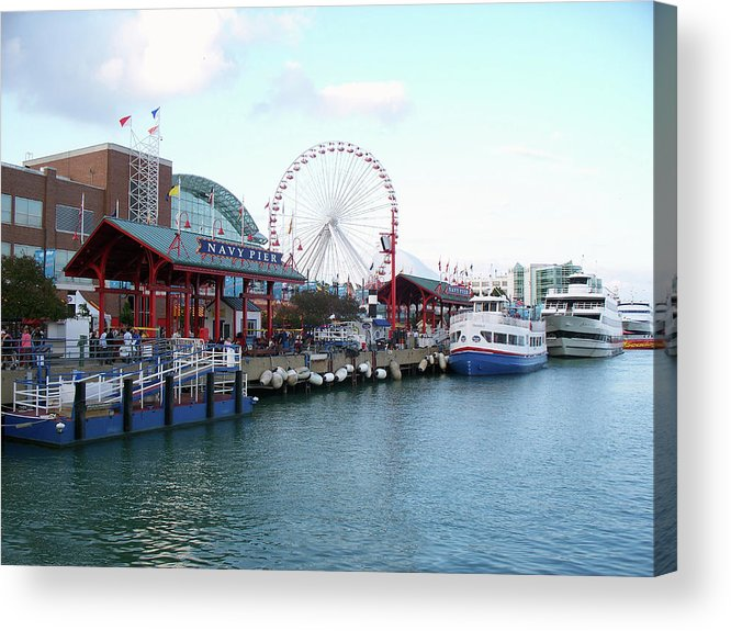 Cities Acrylic Print featuring the photograph Navy Pier Chicago Summer Time by Thomas Woolworth