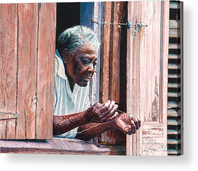 Lady Acrylic Print featuring the painting Needle And Thread by Gregory Jules
