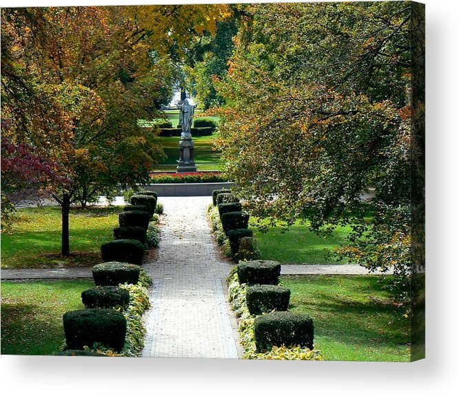 Digital Photography Notre Dame Campus Trees Fall Nature Shrubs Flowers Leaves Jesus Statue Prints Posters Greeting Cards Acrylic Print featuring the mixed media Notre Dame Campus by Connie Dye