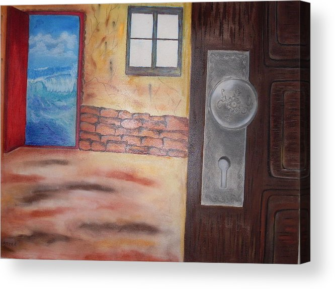 Surreal Door Acrylic Print featuring the pastel Ocean View by Saeed Ghassemlou