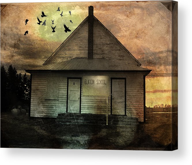 Building Acrylic Print featuring the mixed media Old School by Janet Kearns