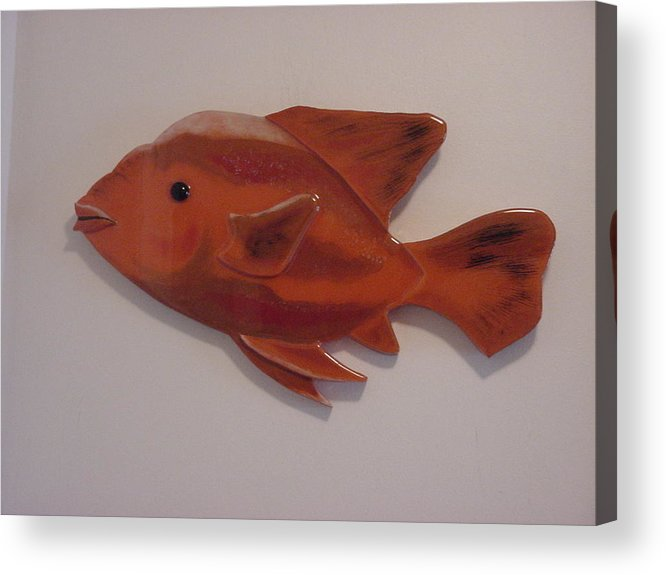 Fish Acrylic Print featuring the mixed media Orange Fish by Val Oconnor