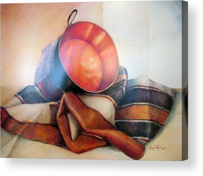 Copper Acrylic Print featuring the drawing Perol Sobre Kepi by Sonia Tudela