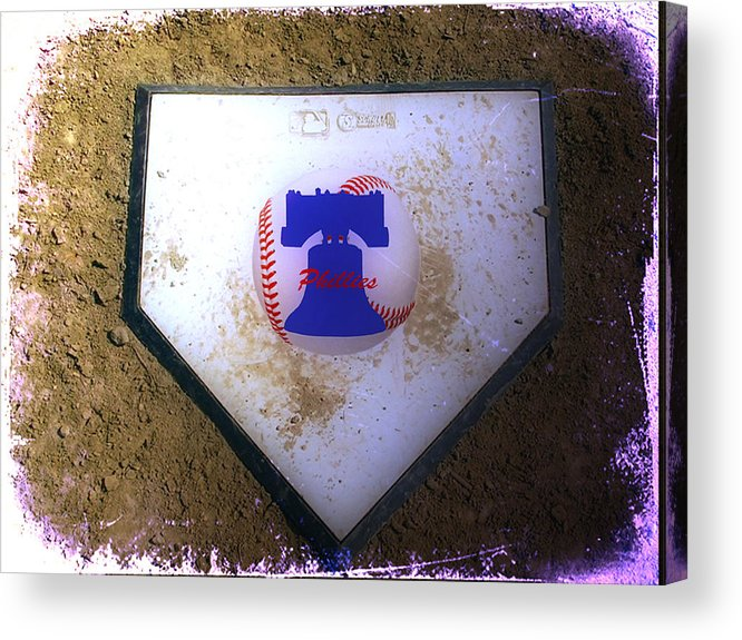 Phillies Acrylic Print featuring the photograph Phillies Home Plate by Bill Cannon