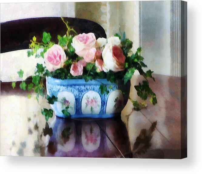 Rose Acrylic Print featuring the photograph Pink Roses And Ivy by Susan Savad