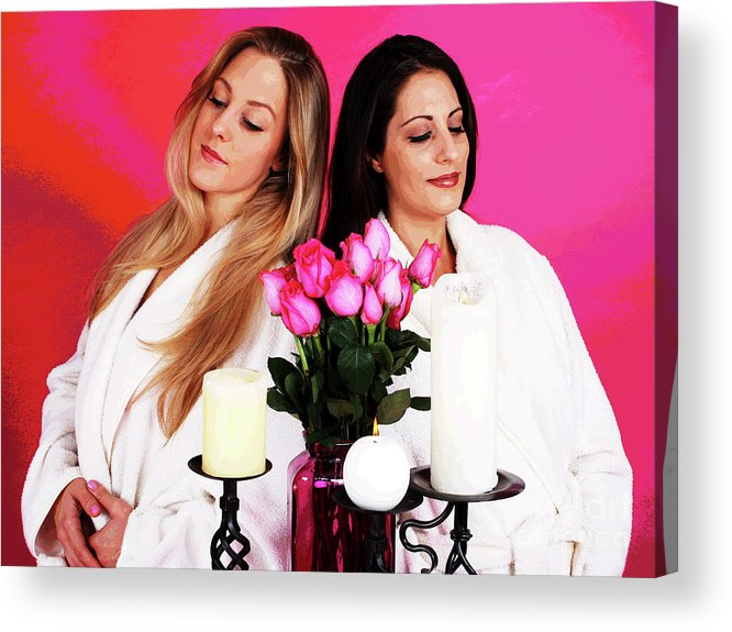 Pink Acrylic Print featuring the photograph Pink Spa Sisters by Larry Oskin