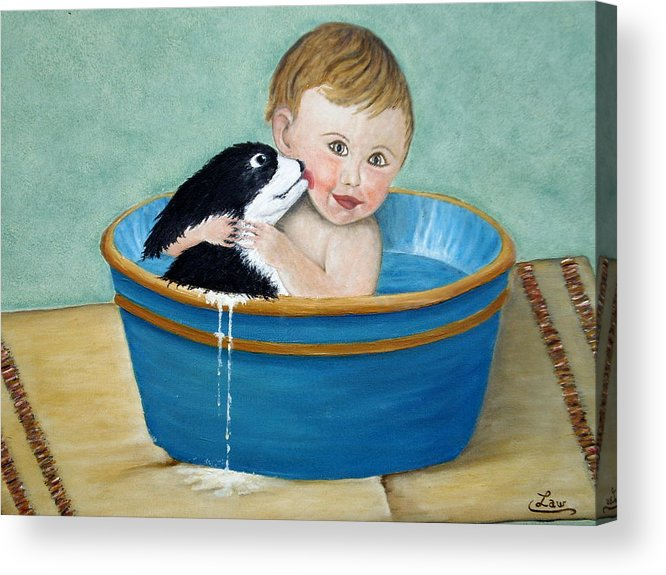 Children Acrylic Print featuring the painting Playing In The Tub by Chris Law