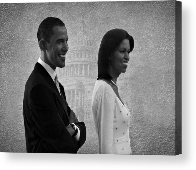President Obama Acrylic Print featuring the photograph President Obama And First Lady Bw by David Dehner