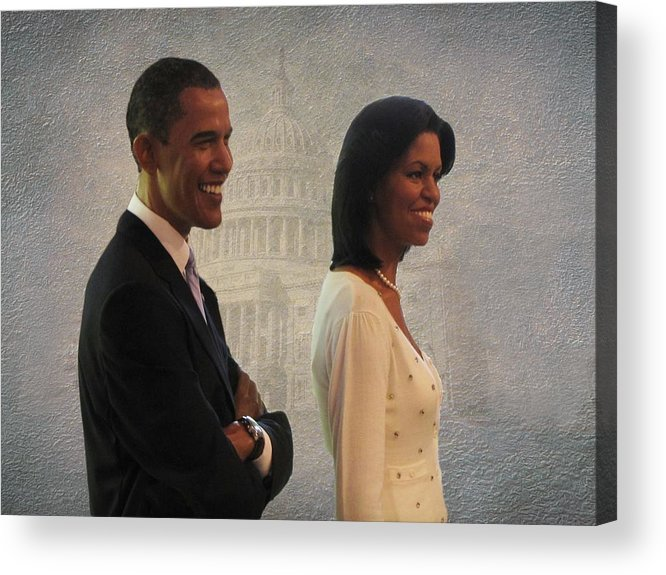 President Obama Acrylic Print featuring the photograph President Obama And First Lady by David Dehner