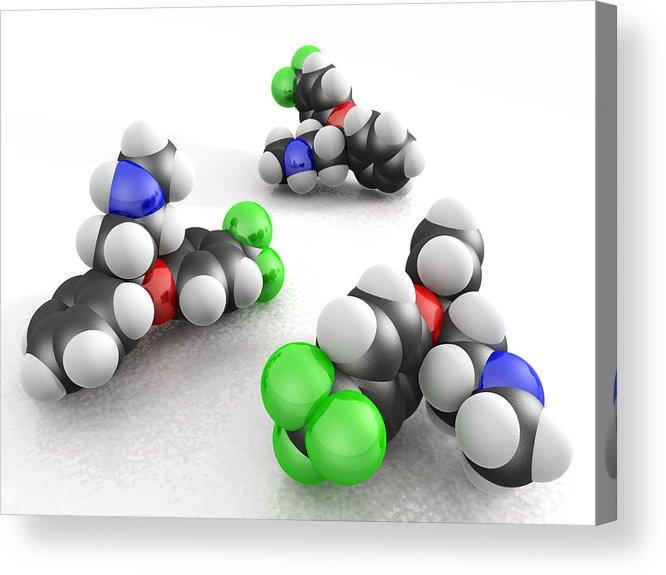 Fluoxetine Hydrochloride Acrylic Print featuring the photograph Prozac Molecules by Phantatomix