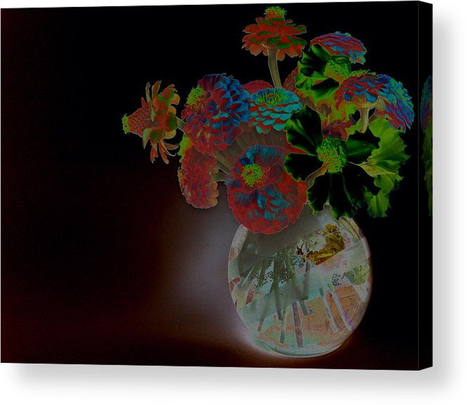 Flower Arrangement Acrylic Print featuring the photograph Rainbow Flowers In Glass Globe by Padre Art