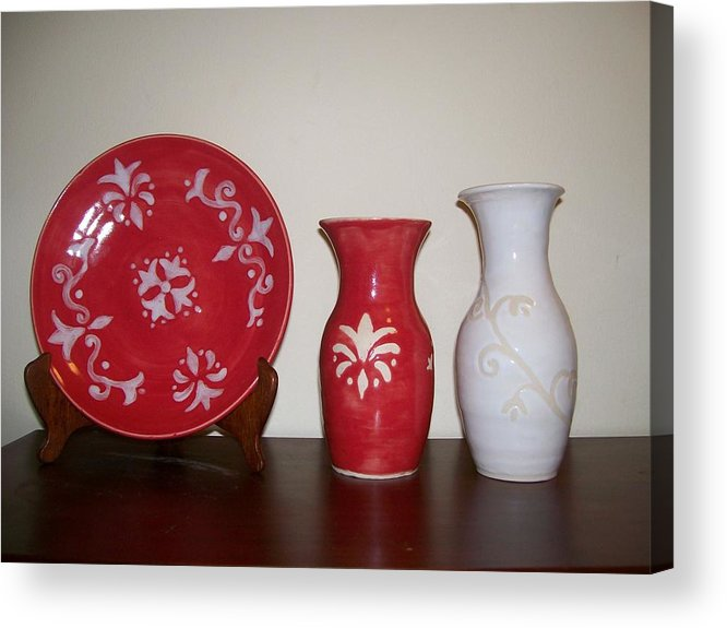 Red Acrylic Print featuring the ceramic art Red And White by Monika Hood
