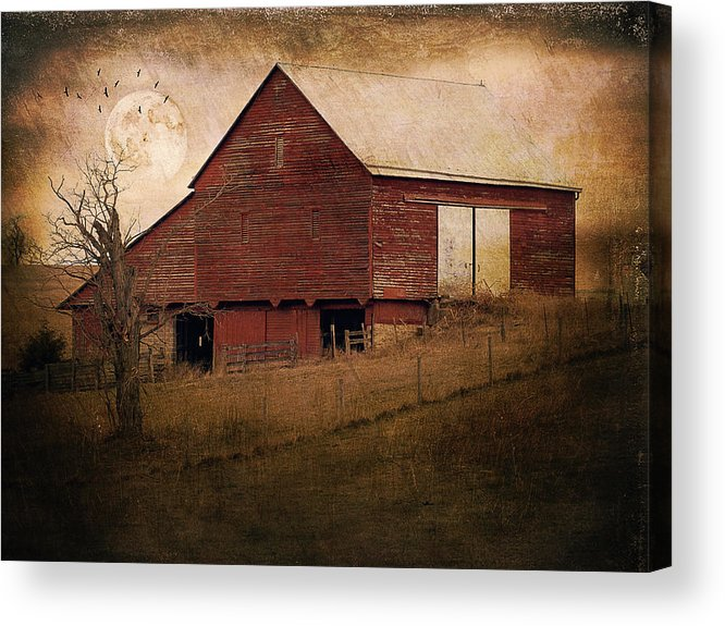Barn Acrylic Print featuring the photograph Red Barn In The Evening by Kathy Jennings