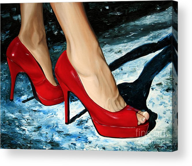 Red Shoes Acrylic Print featuring the painting Red Delight by Julie Pflanzer