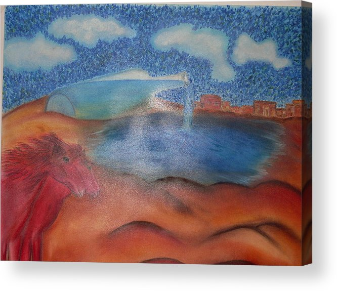 Surrealism Acrylic Print featuring the pastel Red Horses by Saeed Ghassemlou