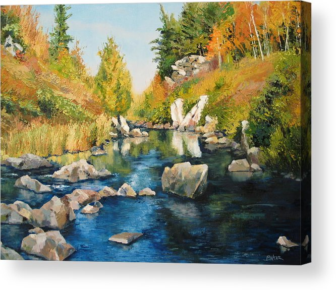 Landscape Acrylic Print featuring the painting Rhinelander Fall by Michael Pintar